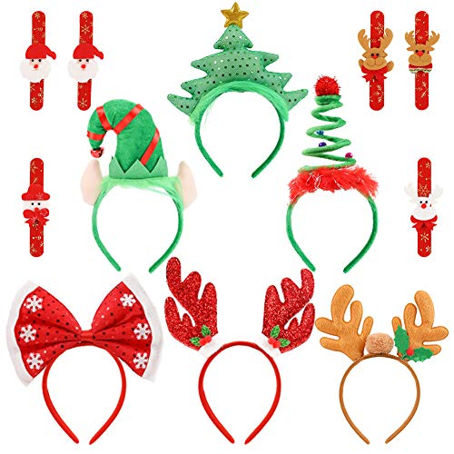 HANSGO Christmas Headbands, 12PCS Cute Xmas Dressup Assorted Designed Hairband with Slap Bracelet for Christmas Party Supplies and Party Favors, Flexibility to Fit
