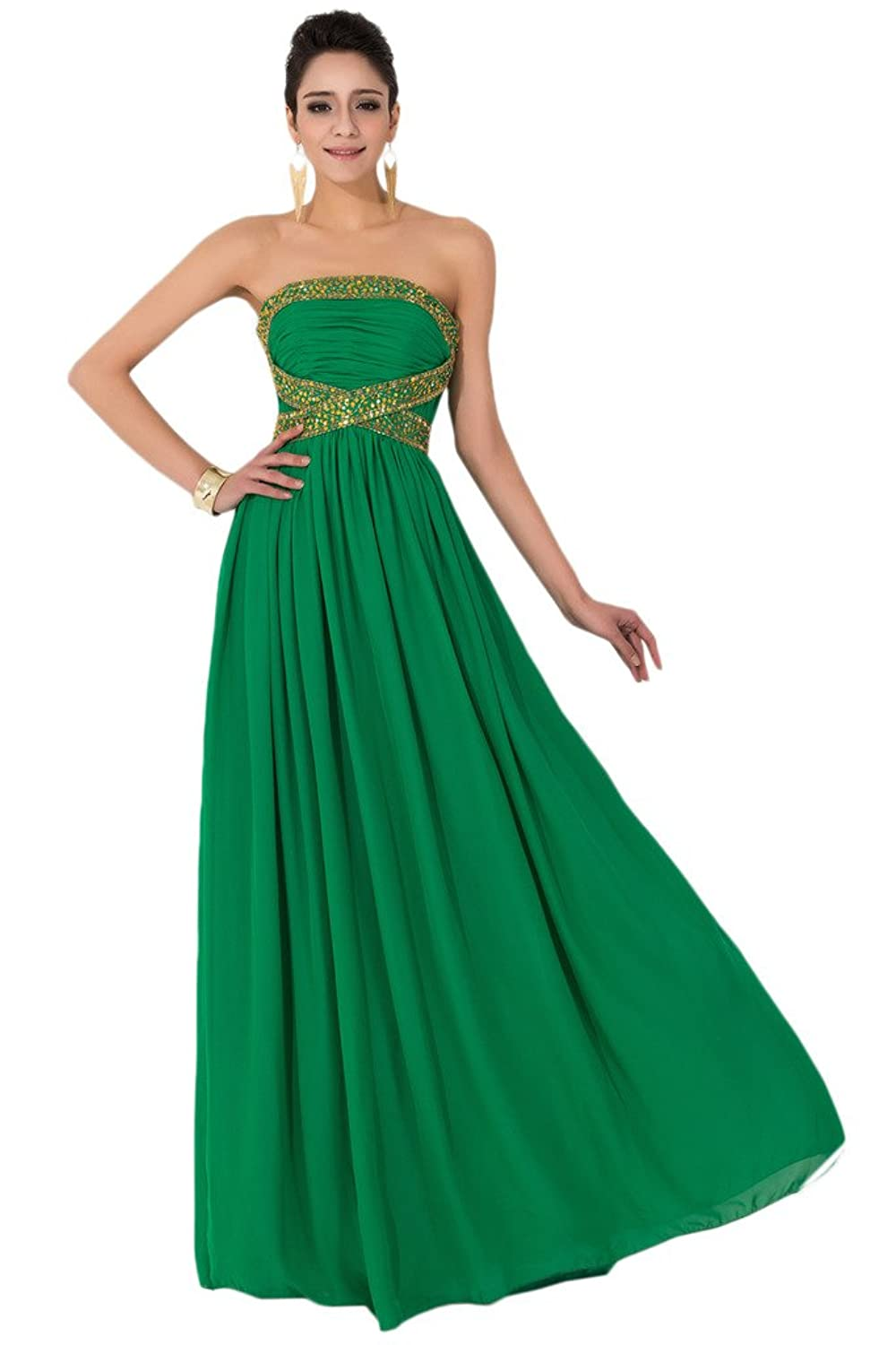Sunvary Strapless Green Draped Ruffle Dresses for Evening Pageant Gowns