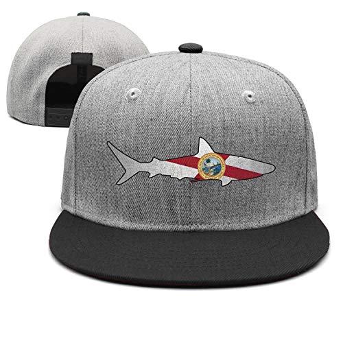 Fashion Flat Cap Men's Florida Flag Shark Outline Black Adjustable Style Outdoor Unisex Caps -