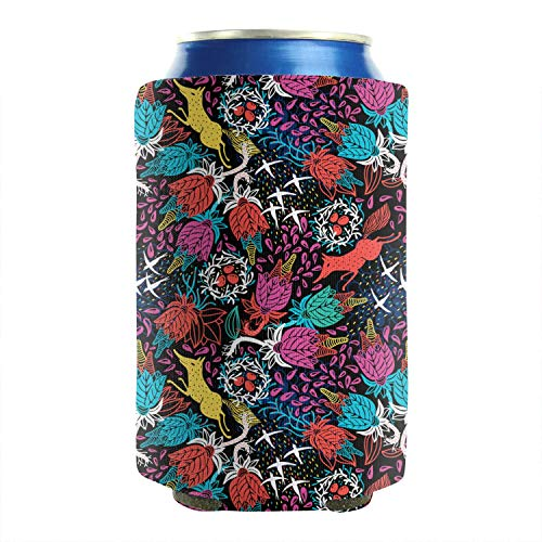 2-Pack Durable Collapsible Fully Stitched Insulated Bottles Holder Neoprene Beverage Coolers Fits 12 Ounce Fox Bird Flower Fruit Plant Cold Drink Soda Water Beer Can Coolers Sleeves -