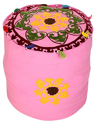 Cotton Round Ottoman (Cultural Round Pink Ottoman Cotton Floral Embroidered Pouf Cover Decor By Rajrang)