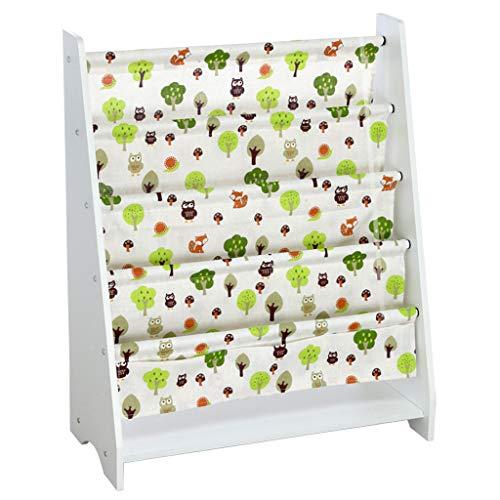 Rusily Baby Bookshelf Children's Magazine Racks Picture Book Shelf Storage Rack 30×23.6Inch, White Trumpet Happy Forest ()