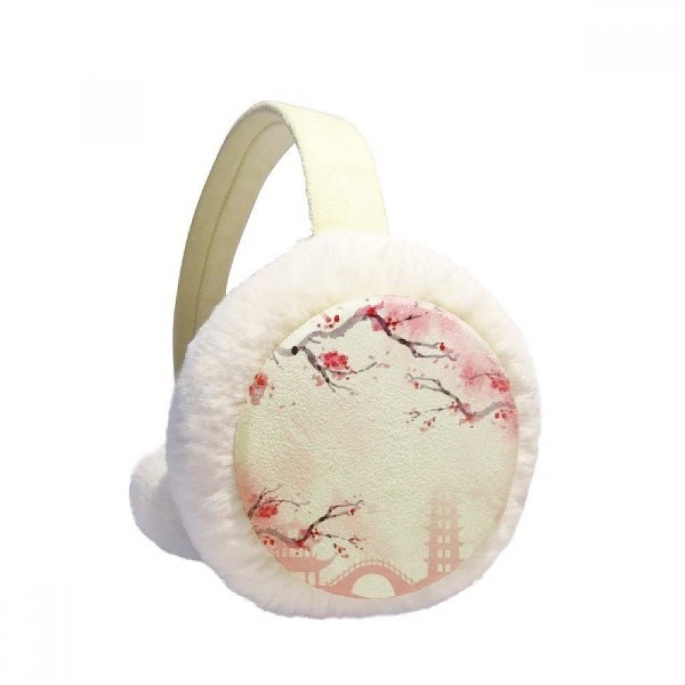 Japan Culture Pink Sakura Illustration Pattern Winter Earmuffs Ear Warmers Faux Fur Foldable Plush Outdoor Gift