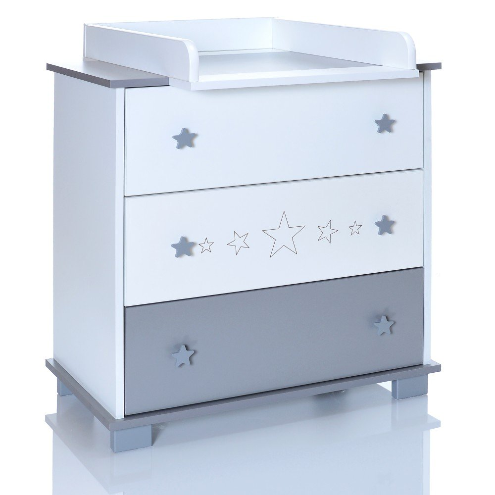 Baby Changing Chest GREYSTARS - Nursery Furniture Changer Unit With 3 Drawers - Baby Changing Table removeable LCP Kids 965