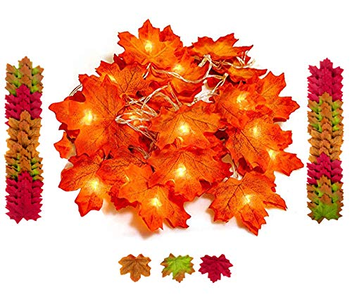 Bassion Thanksgiving Decorations Lighted Fall Garland String Lights for Indoor Outdoor Home Autumn Fall Decor - 9.8 Feet 20 LED and Bonus 200 Pcs Fake Fall Leaves, Thanksgiving Gift