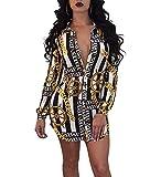 Remelon Womens Chain Anchor Print Button Down Collar Long Shirt Dress Blouse Mini Dress Black XL