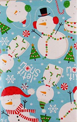 (Let it Snow Snowman Collection Vinyl Flannel Back Tablecloth (60