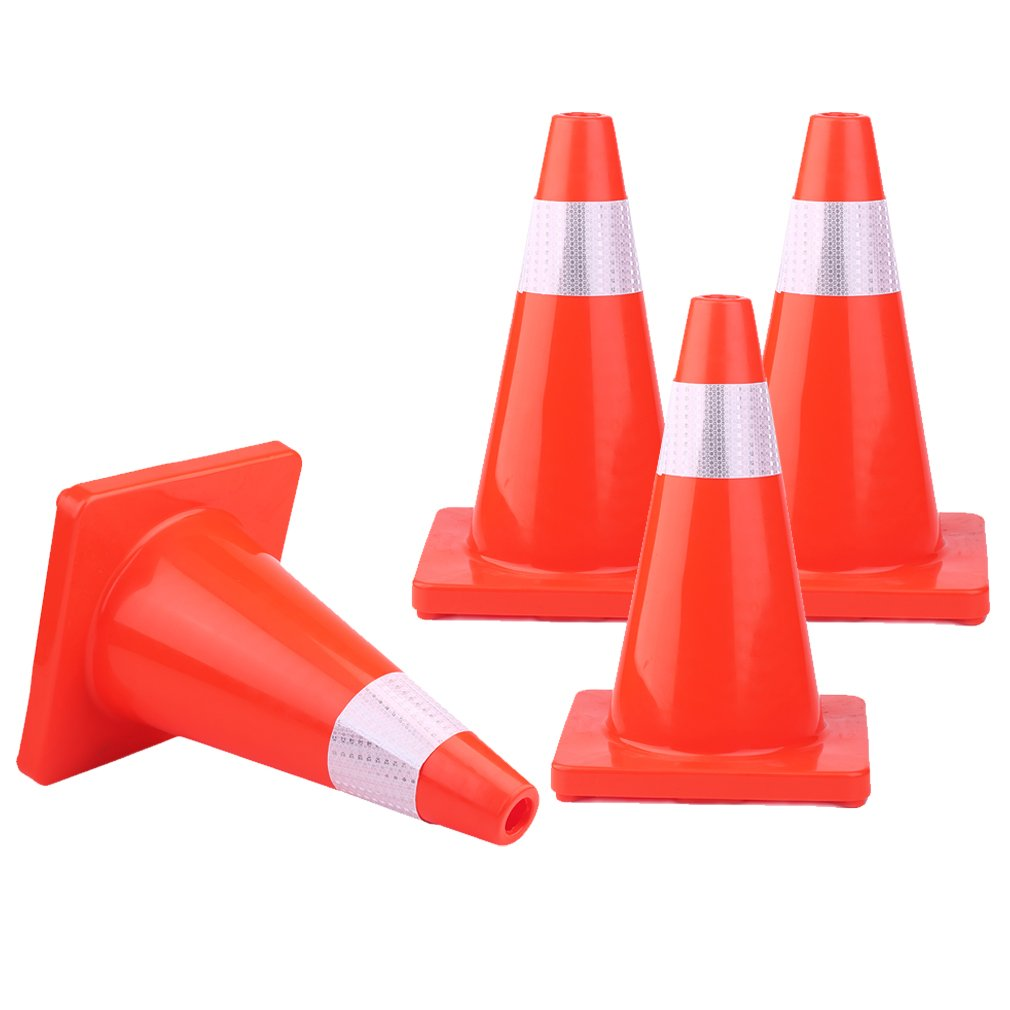 Homgrace Traffic Cone, 12'' PVC Multi Purpose Pop up Reflective Safety Cone, Set of 4 (12 inch)