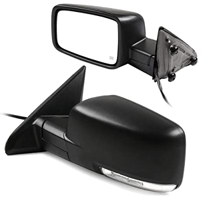 cciyu Black Power Left and Right Side View Mirror Manual Folding Heated Turn Signal Fits for 2009-2010 Dodge Ram 1500 2011-2013 Dodge Ram 1500 2011-2015 Dodge Ram 2500 3500: Automotive