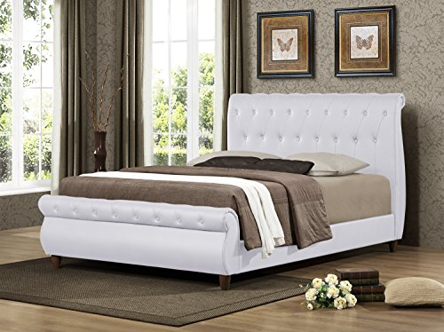 Furniture World Dali Upholstered Sleigh Bed with Button Tufted Accents and Wooden Legs, Full, White