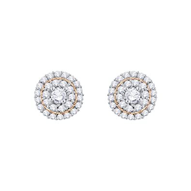 1cf08af24 KATARINA Diamond Double Halo Cluster Stud Earrings in Gold or Silver (1/3  cttw, G-H, VS2-SI1)