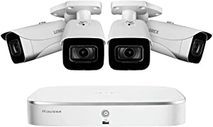 Lorex 4KAI84 4K Video Surveillance System w/Lorex N841A82 2TB NVR and 4 E861AB 4K Bullet Cameras Featuring Smart Motion Detection and Smart Home Voice Control