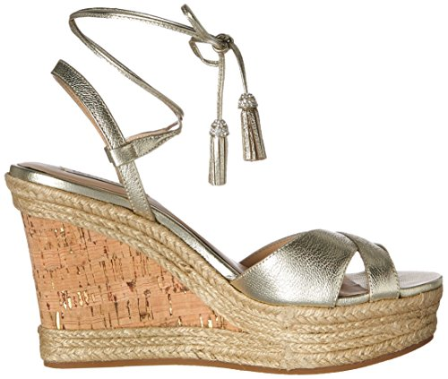 Badgley Mischka Womens Cece Espadrille Wedge Sandal Platino