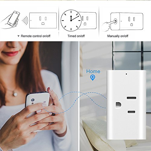 Smart Outlet, ONEVER WiFi Enabled Mini Remote Control Timer Switch Compatible with Google Home & Amazon Echo Alexa US Plug (Pack of 4X) by ONEVER (Image #2)