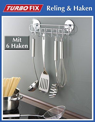 WENKO TurboFIX Küchen-Hakenleiste - Küchenleiste - 6 Haken - 31,5 cm Hakenleiste für Küchenhelfer - Küchenreling - Haken Leiste