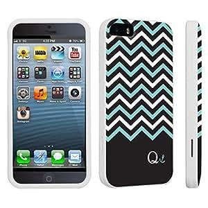 DuroCase ? Apple iPhone 5 / iPhone 5s Hard Case White - (Black Mint White Chevron Q)