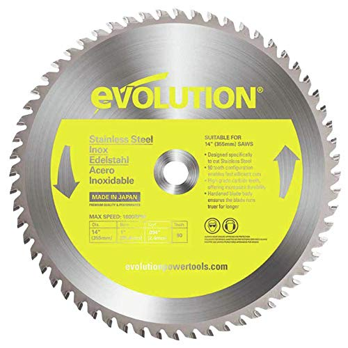 - Evolution Power Tools 14BLADESS Stainless Steel Cutting Saw Blade, 14-Inch x 90-Tooth