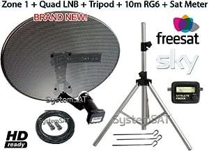 Zone 1 antena parabólica Kit trípode portátil LNB Quad y ...