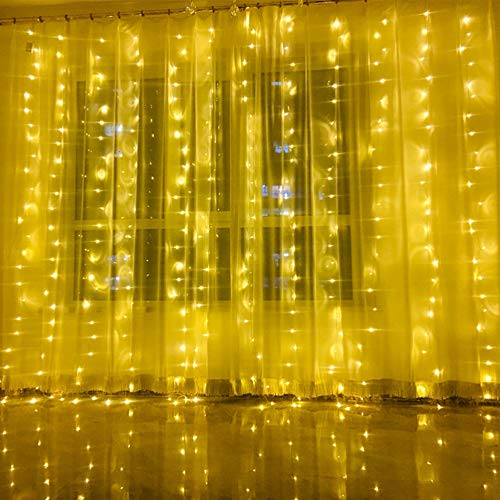 HLLKYYLF LED Curtain Lights, 300 LED Window String Lights with Voice Activated, 8 Lighting Modes, USB Powered Starry…