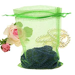 100pcs Organza Bags 4 x 6 Inch Gift Bags Organza Drawstring Pouch Jewelry Party Wedding Favor Party Festival Gift Bags Candy Bags (Green)