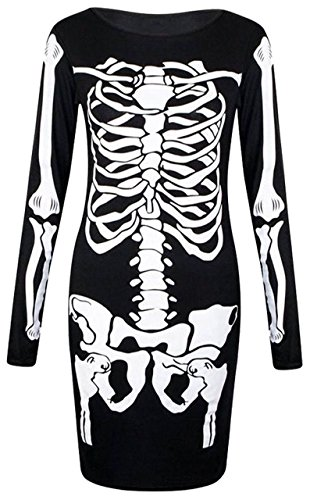 manga esqueleto con Vestido de diseño larga Halloween para negro de mujer xz8Zfq