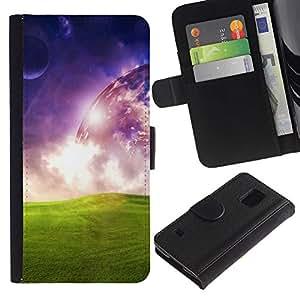 Paccase / Billetera de Cuero Caso del tirón Titular de la tarjeta Carcasa Funda para - Universe Space Alien Planet Art Green Grass - Samsung Galaxy S5 V SM-G900