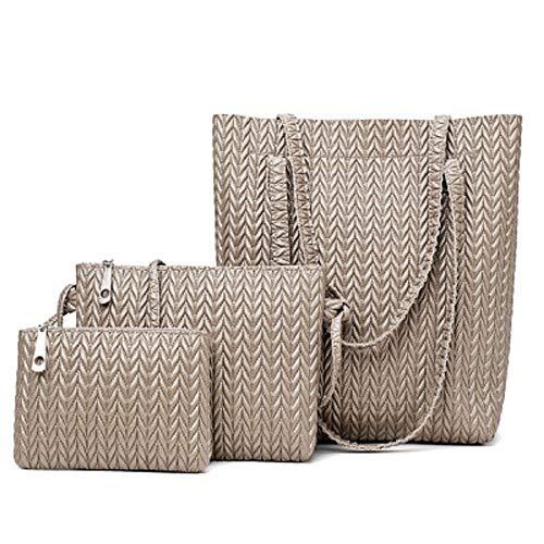 ZHRUI Talented Sewing Craft Ladies Handbag Woven Bag Three Sets Tidal Handbags Gray