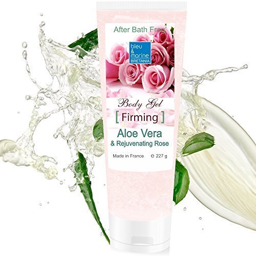 - 100% Natural Aloe Vera & Rejuvenating Rose Firming Gel 227g / 8 oz Face Firming Moisturizer Hair Gel Body Hydration - After Sun Calming - After Waxing - Healing Eczema Sun Burn Razor Bumps - Prevents Stretch Marks - Anti Scars by bleumarine Bretania - made in France by bleu&marine Bretania