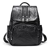 Backpack Purse for Women PU Leather Fashion Anti-theft Shoulder Bag Ladies Large Waterproof Travel Bag black