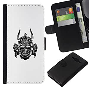 All Phone Most Case / Oferta Especial Cáscara Funda de cuero Monedero Cubierta de proteccion Caso / Wallet Case for Samsung Galaxy Core Prime // samurai guerrero blanco cuerno miedo japón