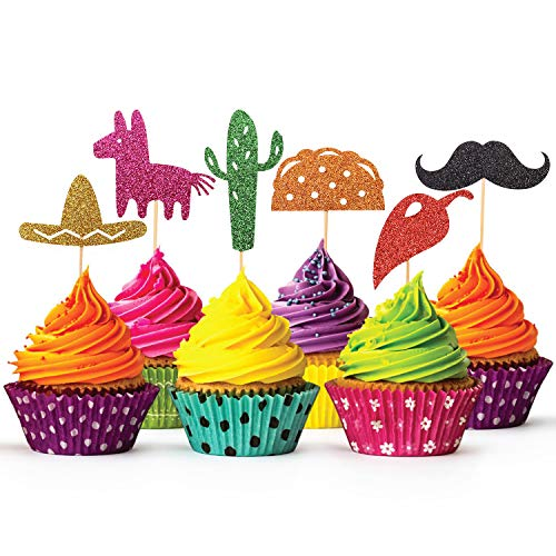 Glitter Fiesta Cupcake Toppers, Mexican Themed Cactus Donkey Taco Pepper Sombrero Mustache Party Decorations,24pcs