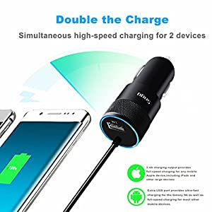 iPhone Car Charger, Sngg 24W/4.8A USB Car Charger with Coiled Lightning Cable for iPhone X/8/8 Plus/7/6/6S Plus 5S 5 5C SE,iPad and More,with Extra USB Port