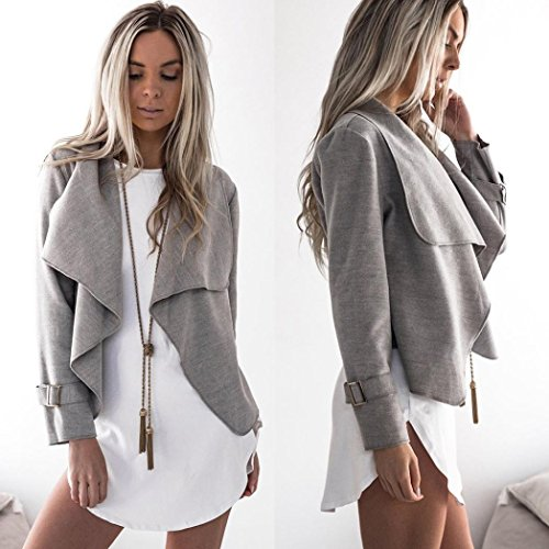 (Womens Wool Long Sleeve Waterfall Casual Trench Coats Cape Cardigans (L, Gray))