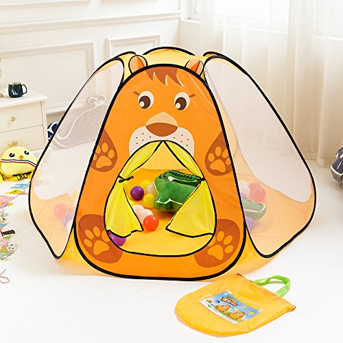 Kids Indoor Outdoor Childrens Pop Up Play Tents of Six-sided with Cartoon Lion Pattern - 32.7(H) x 59(W) x 54.7(D) Inch