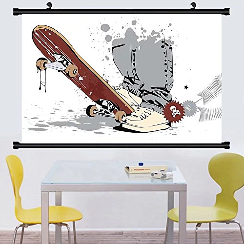 Gzhihine Wall Scroll Teen Room Decor Skateboard with Boy Feet Sneakers and Jeans llustration Wall Hanging Grey Cream Chestnut Brown - Justice Sneakers League