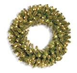 National Tree 36 Inch''Feel Real'' Downswept Douglas Fir Wreath with 100 Warm White LED Lights (PEDD8-312L-36W)