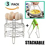 tall steamer rack - Upgraded 3 Pack Instant Pot Accessories Stackable ,AISFA Stackable Egg Steamer Rack Trivet for Pressure Cooker, Heavy Duty Stainless Steel.