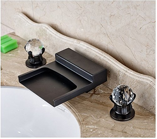 Gowe Widespread 3pcs Waterfall Spout Bathroom Sink Faucet Double Crystal Handles Oil Rubbed Bronze 3