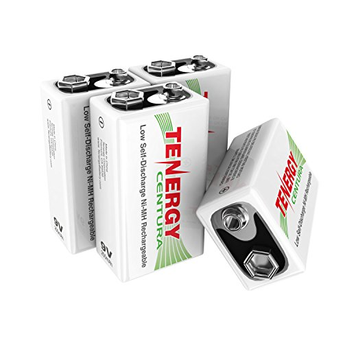 Tenergy 4 Pieces of 9V 200mAh Low Self-Discharge NiMH Rechargeable Batteries 200 Mah Nickel Metal