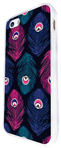 1361 - Cool Fun Trendy Cute Kawaii Peacock Feathers Collage Design iphone SE - 2016 Coque Fashion Trend Case Coque Protection Cover plastique et métal - Blanc
