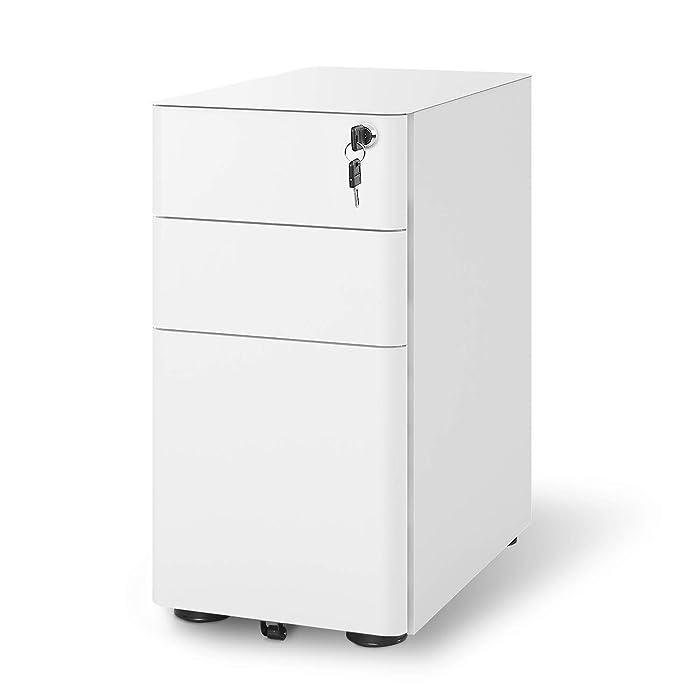 DEVAISE 3-Drawer Slim Locking File Cabinet, Fully Assembled Except Caster, Legal/Letter Size, White