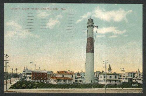 Absecon Light House Atlantic City NJ postcard 1912