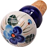 Polish Pottery Ceramika Boleslawiec, 0804/162, Wine Stopper, 2 3/4 High by 1 1/2 Inches in diameter, Royal Blue Patterns with Blue Pansy Flower Motif