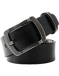 WERFORU Vintage Leather Belts for Men Simple Casual Soft Designer Belt With Buckle