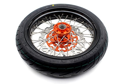 KKE KTM SUPERMOTO WHEELS RIMS SET KIT & TIRE EXC SX XCW XCF 125 250 350 530 3.5/5.0 SUPERMOTO WHEEL SET WITH TIRE & DISC by KKE (Image #5)
