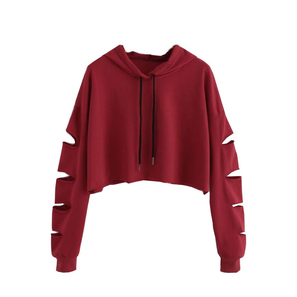 OldSch001 Women's Simple Cut-Out Long Sleeve Sweatshirt Crop Tops