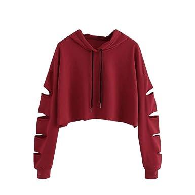 Moonuy Sweat à Capuche à Manches Longues pour Femme Automne Mode Dames  Solide Couleur Pull Top Sweat à Capuche Sweat-Shirt Court Arrêtez-Vous Tops  Chemisier ... da2495ea5051