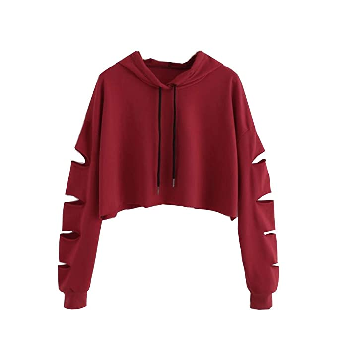 Sudaderas Mujer Tumblr Cortas con Capucha - Andrajoso Manga Camiseta Blusas Invierno Otoño Ropa para Adolescentes