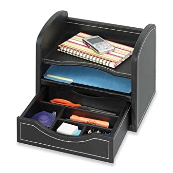 Safco Products 9435BL Leather Look Desk/Drawer Organizer, Black