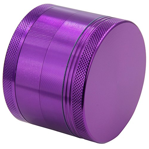 DCOU Large Aluminum Pollen Tobacco Grinder / Spice Grinder / Herb Grinder / Weed Grinder, with Sifter,with Magnetic Cover, 4 Piece 2.5 Inches (Purple) (Grinder For Weed Purple)